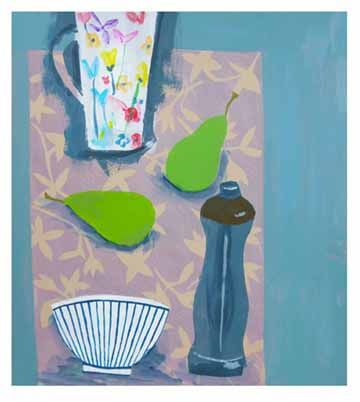 Still life with two pears and painted jug