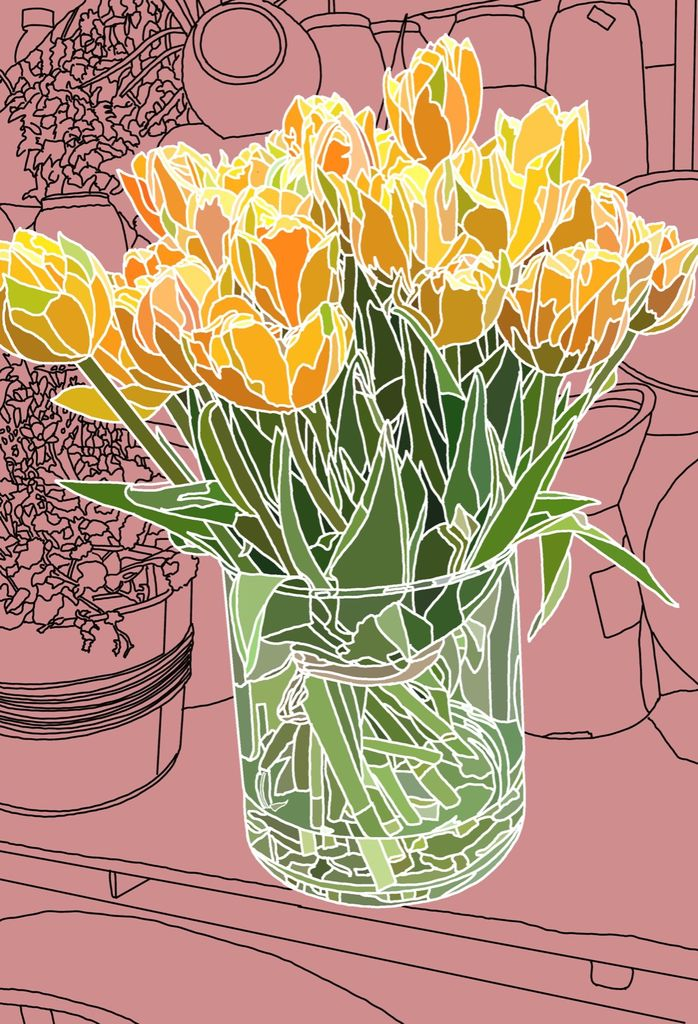 Abstract Tulips In Glass