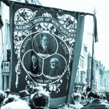 Durham Miners Gala Blackhall Banner with black ribbon