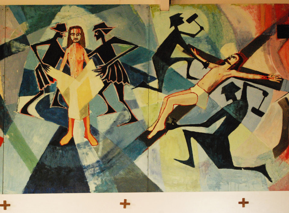 """Detail of Stations 10 and 11 """" Jesus is Stripped of His Garments and Crucifixion; Jesus is Nailed to the Cross"""""""