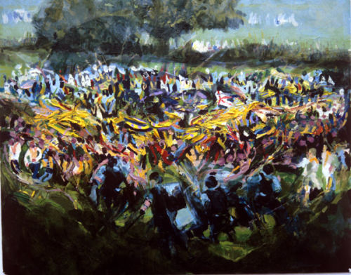 """Spirit of Drumcree no.1"" acrylic on card 17 x 21ins 1995"