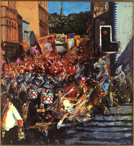 """Orangemen and traffic lights, Donegall st."" oil on canvas 1997"