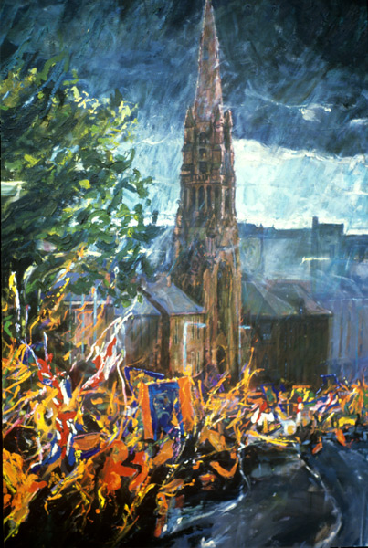 """The Orange Parade passing St. Patricks Church"" Oil on canvas 1989 50 x 36ins"