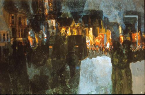 """Saracens and Orangemen, Carlisle Circus""Gouache on Paper  1972"