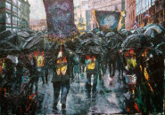 """""""Orange Parade with Umbrellas passing the Belfast Telegraph"""" Oil on canvas, 30 x 40ins"""
