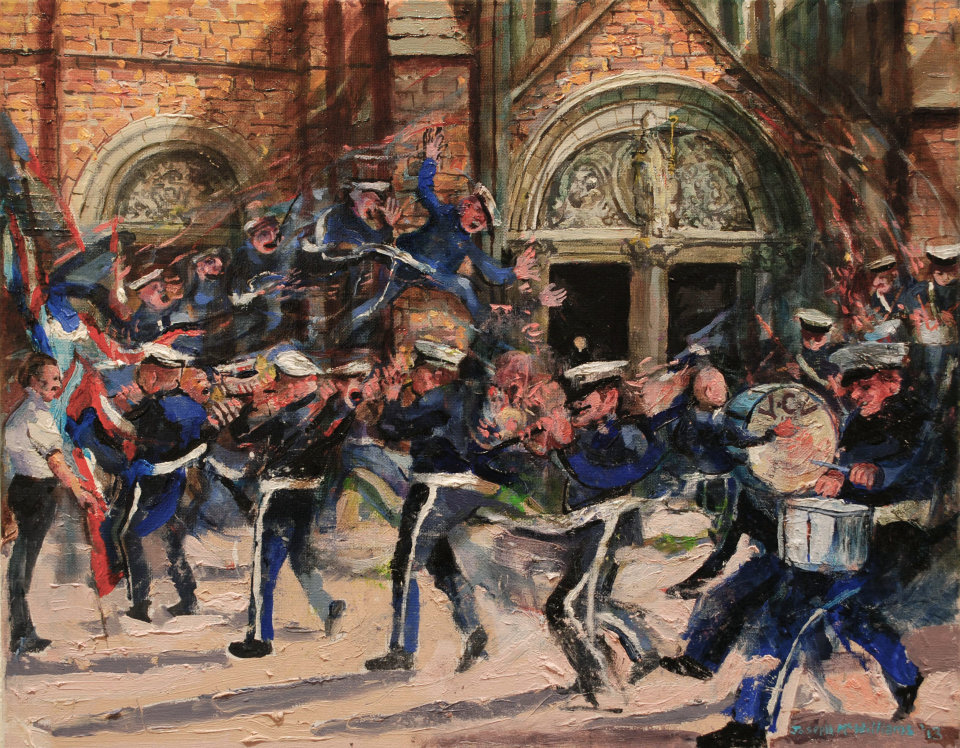 """""""Christian Flute Band outside St.Patrick's"""" oil on canvas 38x 48 cm"""
