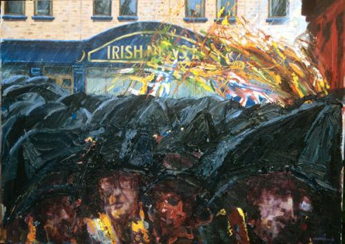 """Orangemen with Umbrellas no.1"" oil on canvas 30 x 40ins 1995"