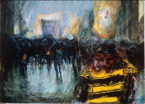 """Marching in the rain"" Acrylic on Board 17 x 21ins 1995"