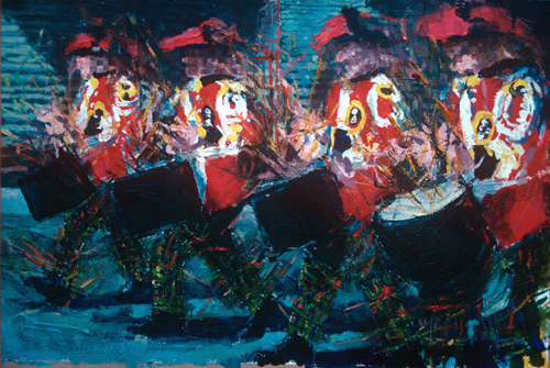 """""""Drummers no.1"""" gouache 14 x 20ins 1994"""