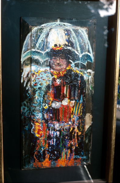 """The Last Governor and Medals Icon"" Mixed media, 27 x 13ins 1989"