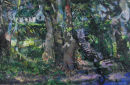 """Cottage in The Trees"" Oil on Handmade Paper,"