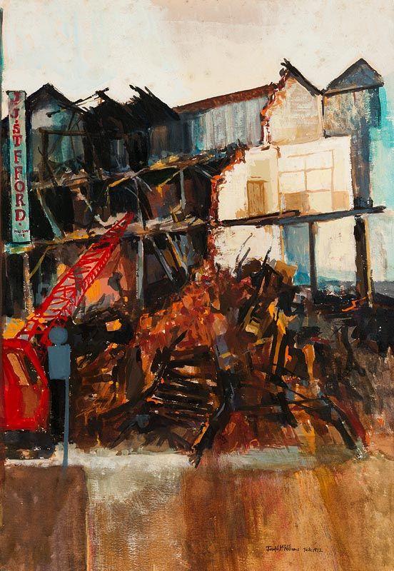 Demolition Old Belfast, Union Street 1971, oil on card 53 x 37cm