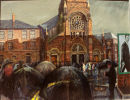 """Umbrellas at St. Patricks Donegall St."" oil on canvas 30 x 40 ins"