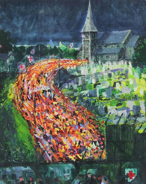 """Drumcree Exodus"" oil on paper H 25cm x W 20cm"