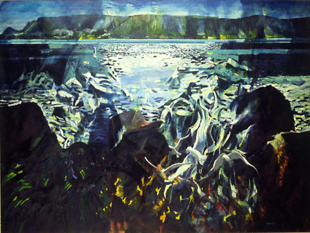 """Seagulls and Light, Cushendall"" oil on canvas 1982 4ft x 3ft"