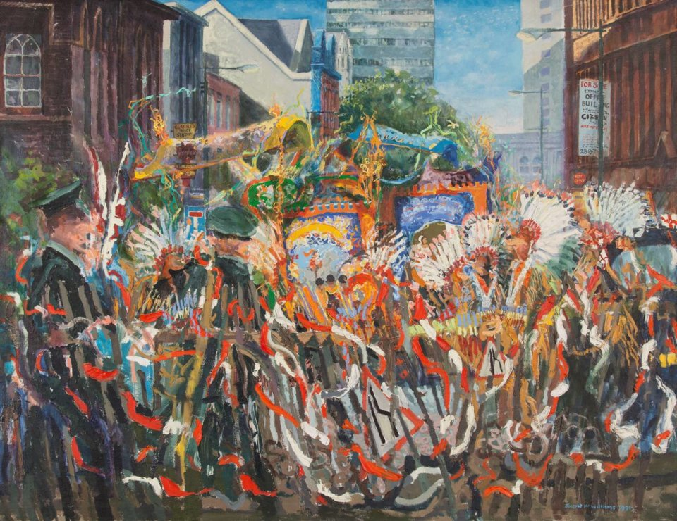 Orangemen and Mohawk Indians, oil on canvas 1991
