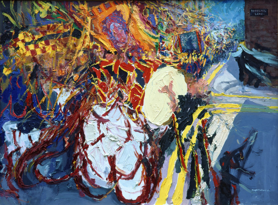 """""""Beating Drums in Donegall St. No.2"""" oil on canvas 30 x 40ins 1995 Ulster Television Collection"""
