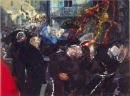 """Brown Nuns, Assisi"" Acrylic on Card 15 x 20ins 1994"