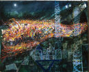 """Media watching Christians leaving church, Drumcree"" oil on handmade paper 18 x 24ins 2002"