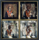 """Orange Icons (Carson)"" Acrylic on Gesso 27"" x 26"""