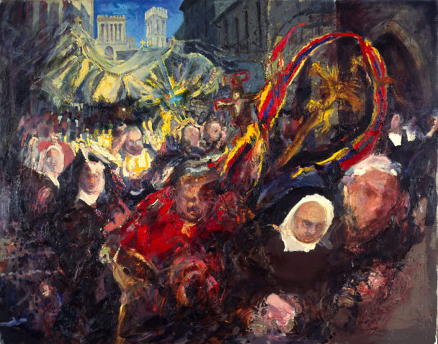 """Corpus Christi procession, Assisi"" oil on canvas 48 x 60ins 1994"