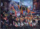 """""""Orangemen in Donegall St. Belfast"""" Acrylic on Board 1991 18 x 24ins"""