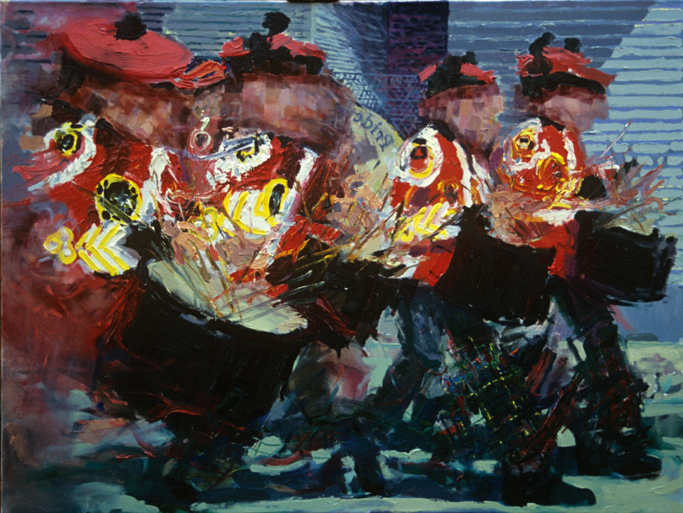 """Drummers No.2"" oil on canvas 30 x 40ins 1995"