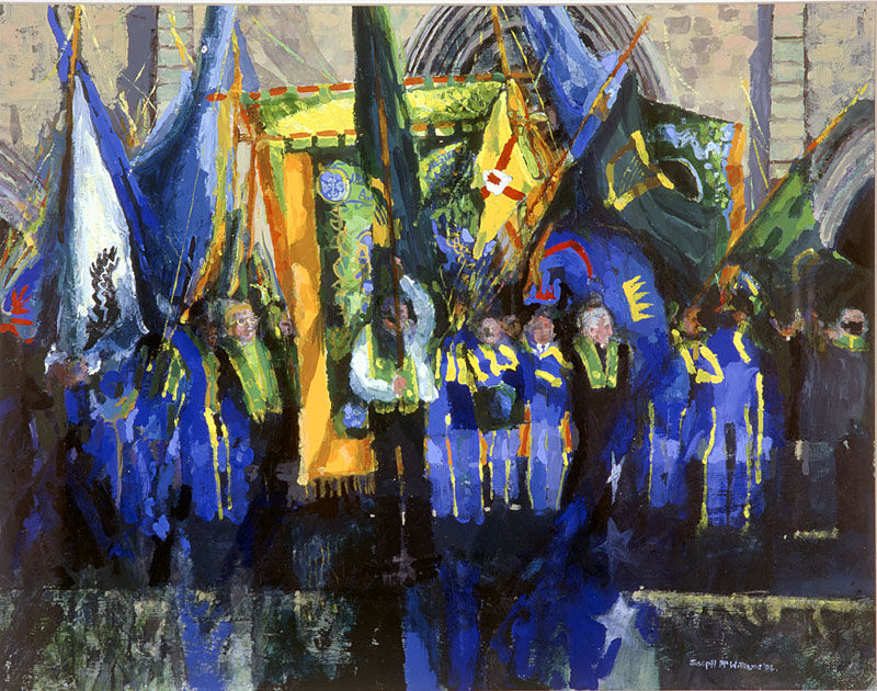 """Irish National Foresters"" Acrylic on Card 15 x 20ins 1994"