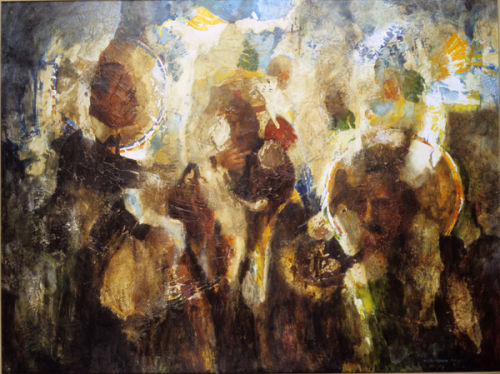 """Orange and Green Saints"" 1982 oil on gesso 40 x 52"""