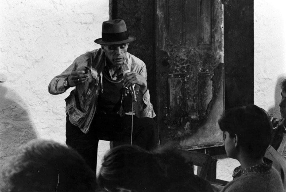 "Joseph Beuys in front of ""Community Door"" 1977 at Documenta 6"
