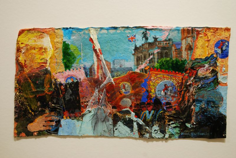 """""""King Billys, Donegall Street"""" oil on handmade paper 6.5 x 13 ins"""