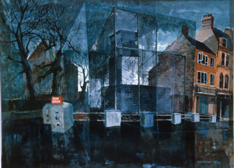 """Army Post, Antrim Road"" 21ins x 27ins Acrylic 1979"
