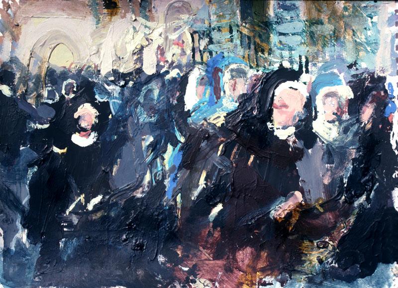 """Blue Nuns"" Acrylic 11 x 14ins 1995"