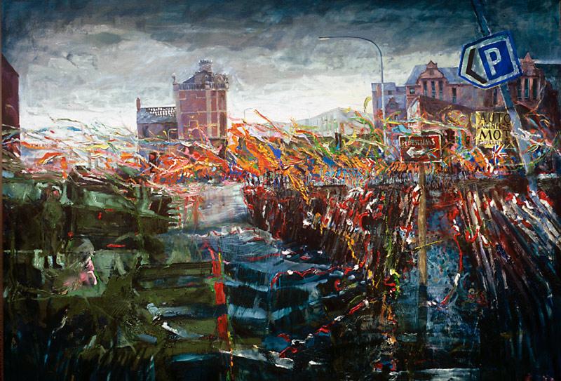 Orange Parade North Queen St. Belfast<br> oil on canvas 60insx84ins 1990