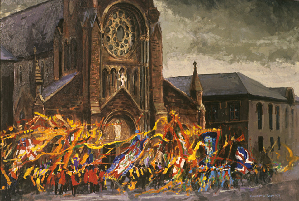 """Orangemen Passing St. Patricks Church"" Acrylic on Board 1996"