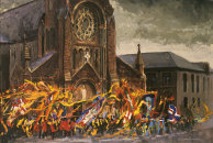 """Orangemen Passing St. Patricks Church"" Acrylic on Board 1996"
