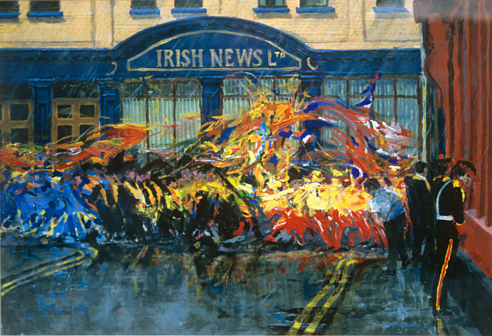 """Orangemen passing the Irish News"" Acrylic on Board 16 x 21ins 1994 Irish News Collection"