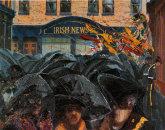 """Orangemen with Umbrellas No 2"" oil on Canvas, 58 x 60 / 122 x 152cm"