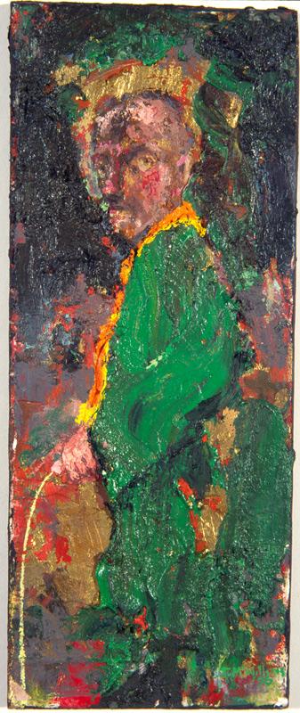 """Green Peeing Orangeman"" oil on board 11 x 5ins 1996"