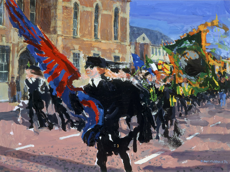 """Republican parade Falls Library"" gouache on paper<br>