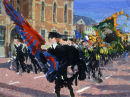 """""""Republican parade Falls Library"""" gouache on paper 1994 10 x 14ins"""