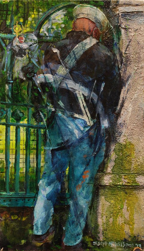 """Drummer at St.Matthew's Gates"" oil on Board  31 x 17 cm"