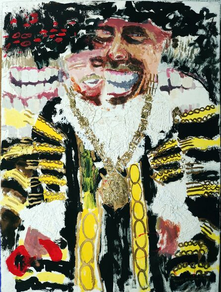 """See me, I'm the Lord Mayor II"" acrylic, gold leaf and paper Doilies on paper"