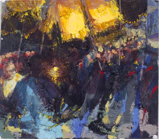 """The Monstrance, Corpus Christi Assisi, Acrylic on Board 14 x 15ins 1995"