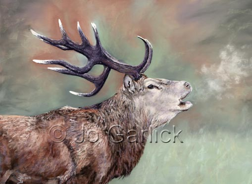 Pastel painting of a red stag