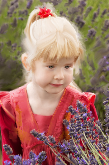 Girl in lavender field after oil painting effect