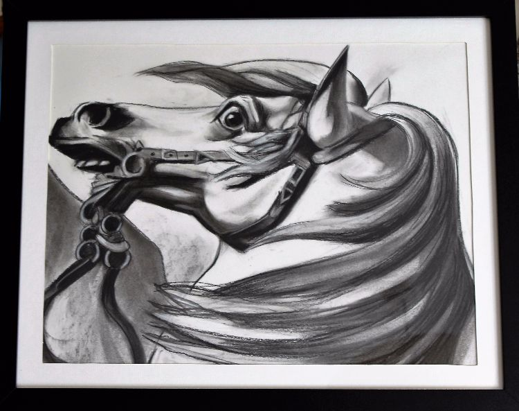 Crossing the Alps A2 charcoal
