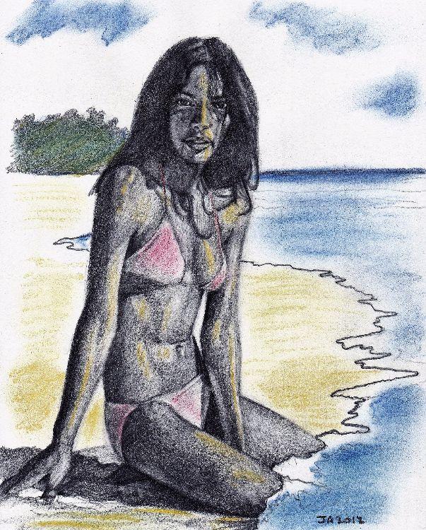 Girl on beach A4