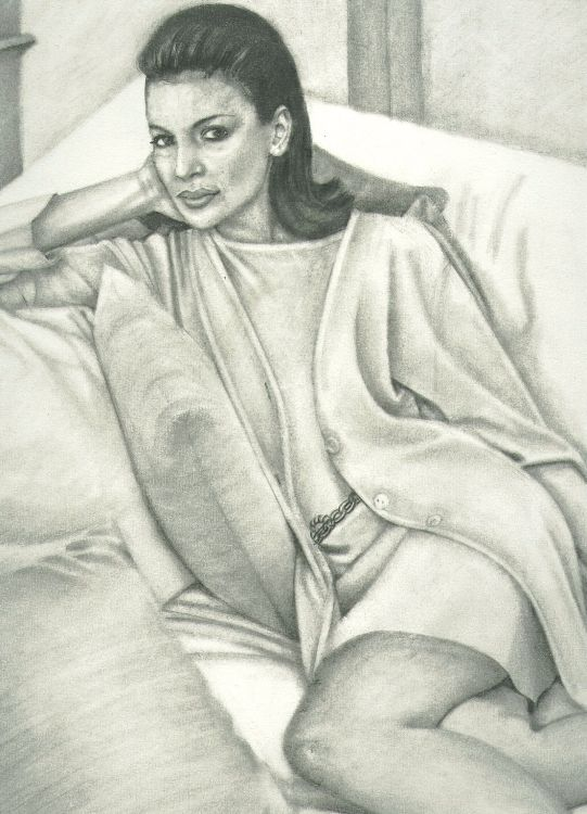Girl on cushions A3