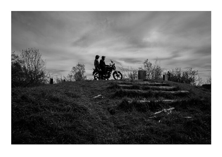Bike Boys on Hill A4 print
